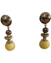 Dior - Pre-owned Vintage Yellow Pearls Earrings - Lyst