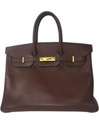 0da2441e801f Hermès - Pre-owned Vintage Birkin 35 Brown Leather Handbags - Lyst