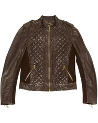 Michael Kors - Brown Leather Leather Jacket - Lyst