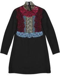 a5f87eef Valentino Ruffled Wool & Silk Sheath Dress in Black - Lyst