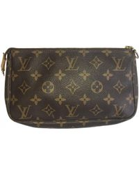 Lyst - Louis Vuitton Pre-owned Pochette Cloth Clutch Bag in Brown da07c495f4f