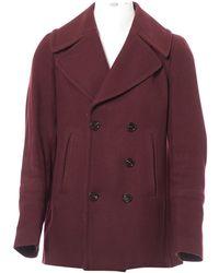 Burberry - Burgundy Wool Coat - Lyst