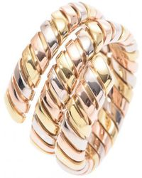bvlgari preowned pink gold ring lyst