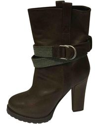 Brunello Cucinelli - Pre-owned Brown Leather Ankle Boots - Lyst