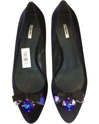 42c5a89dc316b Miu Miu - Pre-owned Blue Velvet Ballet Flats - Lyst