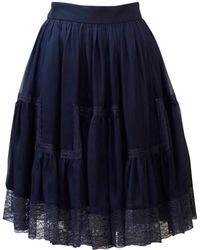 Dior - Blue Silk Skirt - Lyst