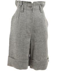 Max Mara Grey Linen Shorts - Gray