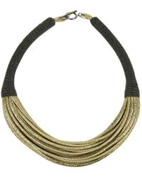 Brunello Cucinelli - Gold Leather Necklace - Lyst