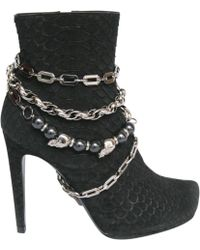 Philipp Plein - Black Exotic Leather Ankle Boots - Lyst