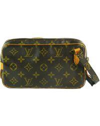 3b934b9f4a7d Louis Vuitton - Pre-owned Vintage Marly Brown Cloth Handbags - Lyst