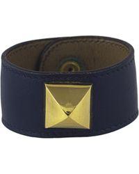 Hermès - Vintage Médor Blue Leather Bracelets - Lyst