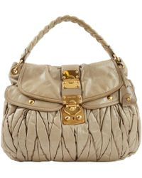 268e116296 Miu Miu - Pre-owned Coffer Khaki Leather Handbags - Lyst