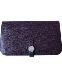 Hermès - Dogon Purple Leather Purse/wallet - Lyst
