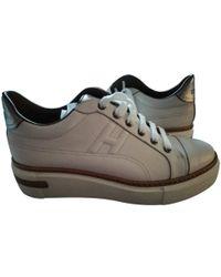 Hermès - Beige Leather Trainers - Lyst