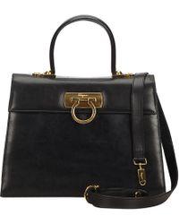 Ferragamo - Vintage Black Leather Handbag - Lyst 1aeab7a383c78