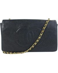 0d4a9abca91b Lyst - Chanel Pre-owned Leather Crossbody Bag in Black