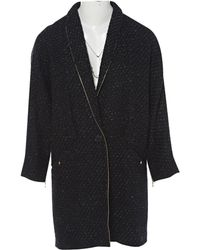 2186d482bf2 Isabel Marant Ilaria Tweedy Coat in Black - Lyst
