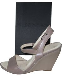 Jil Sander - Grey Leather Sandals - Lyst
