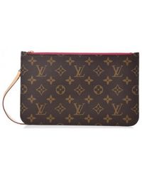 Louis Vuitton - Neverfull Brown Leather Clutch Bag - Lyst