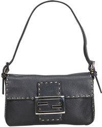 f2548d8d5367 Lyst - Fendi Pre-owned Vintage Baguette Black Suede Handbags in Black