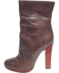b5ad359c512e Lyst - Marni Square Toe Half Boot In Lambskin in Black