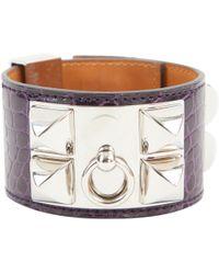 Hermès - Collier De Chien Purple Alligator Bracelets - Lyst