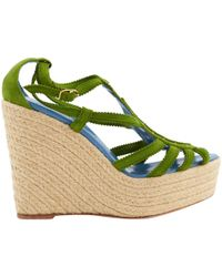 Hermès - Pre-owned Green Suede Sandals - Lyst