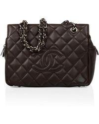 Chanel - Petite Shopping Tote Leather Handbag - Lyst