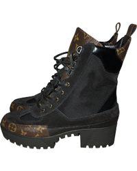 143d7eeea91c Louis Vuitton - Laureate Cloth Lace Up Boots - Lyst