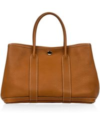 Hermès - Garden Party Gold Leather Handbag - Lyst
