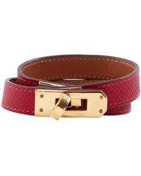 Hermès - Kelly Double Tour Red Leather Bracelets - Lyst