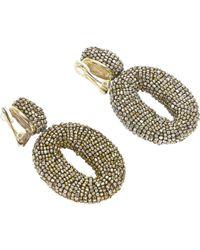 b5f8b1a0f Oscar de la Renta Ginkgo Leaf Drop Earrings in Metallic - Lyst