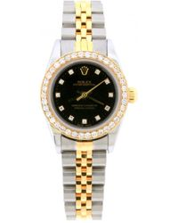Rolex - Lady Oyster Perpetual 26mm Black Gold And Steel Watches - Lyst