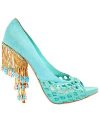 Dior - Turquoise Suede Heels - Lyst