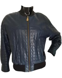 Chanel - Pre-owned Vintage Navy Leather Leather Jackets - Lyst