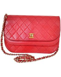 Chanel - Vintage Red Leather Handbag - Lyst