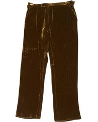 Ralph Lauren Collection - Khaki Velvet Trousers - Lyst