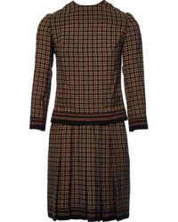 Balmain Robe en Laine Marron - Multicolore