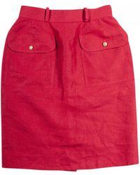 Chanel - Red Linen Skirt - Lyst