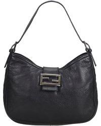 c7b51fe3db35 Fendi Black Satin   Leather