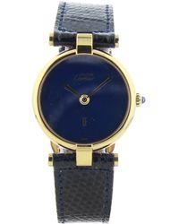 Cartier - Vintage Must Vendôme Blue Silver Gilt Watches - Lyst