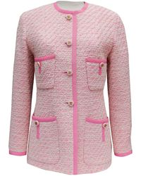 Chanel - Pre-owned Vintage Pink Wool Jackets - Lyst