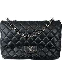 3c1342e5eaba Chanel - Pre-owned Timeless/classique Black Leather Handbags - Lyst