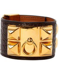Hermès - Collier De Chien Brown Crocodile Bracelets - Lyst