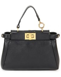 1705a63f1e Fendi - Peekaboo Black Leather Handbag - Lyst