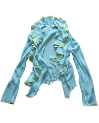 Dior - Pre-owned Vintage Turquoise Silk Tops - Lyst