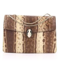 BVLGARI - Serpenti Brown Exotic Leather Handbag - Lyst