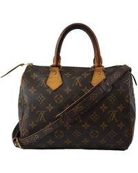 Louis Vuitton - Speedy Bandoulière Brown Leather Handbag - Lyst