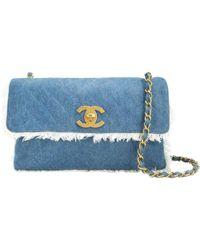 53388abe236e Dior Pre-owned Vintage Saddle Blue Denim - Jeans Handbags in Blue - Lyst