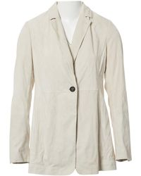 Brunello Cucinelli - Pre-owned Beige Leather Jackets - Lyst